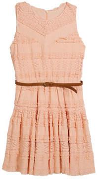 Mayoral Knit Lace Sleeveless Dress w/ Belt, Size 8-16