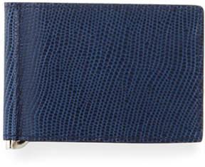 Neiman Marcus Lizard-Embossed Flip Clip Small Wallet