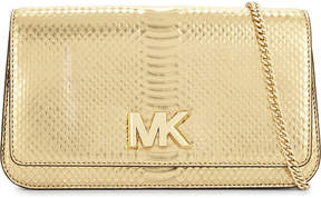 MICHAEL Michael Kors Snake-embossed leather clutch - PALE GOLD - STYLE