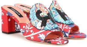 Rochas Beaded jacquard sandals