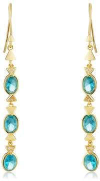 Melinda Maria Nadia Bezel Set Blue Tourmaline & Pave CZ Drop Earrings