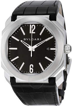 Bvlgari Octo Solotempo Automatic Black Dial Black Leather Men's Watch