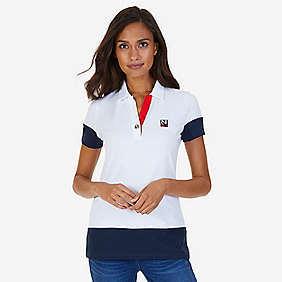 Nautica Grommet Colorblocked Stretch Pique Polo Shirt