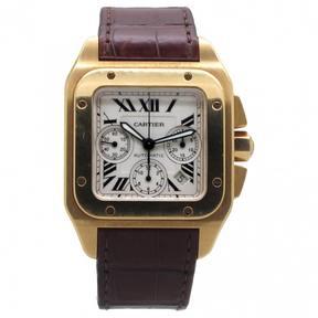 Cartier Santos 100 XL Chronographe gold watch