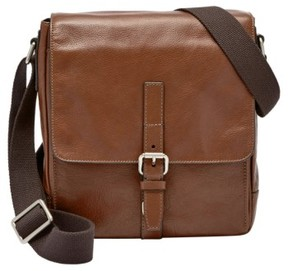 Fossil Men's 'Davis' Leather Messenger Bag - Metallic