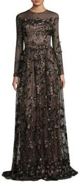 David Meister Floral A-Line Gown