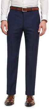 Giorgio Armani Soho Micro-Check Hopsack Wool Pants, Blue