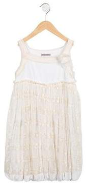 Ermanno Scervino Girls' Embroidered Sleeveless Dress