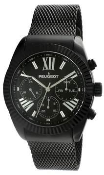Peugeot Watches Men's Stainless Steel Multifunction Calendar Mesh Watch - Black