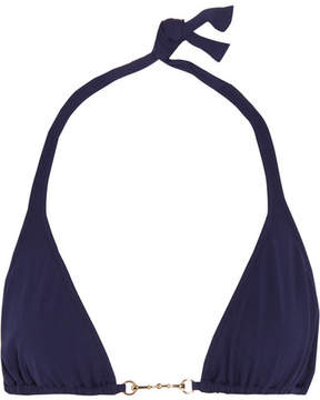 Melissa Odabash Bahamas Embellished Triangle Bikini Top - Navy