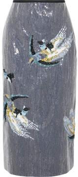 Erdem Sacha Sequined Crepe Midi Skirt - Light blue