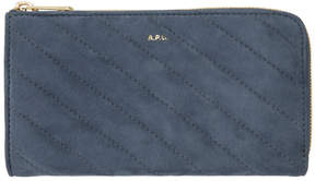 A.P.C. Blue Quilted Suede Lise Wallet