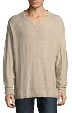 Lucky Brand Cotton Long Raglan Sleeve Top