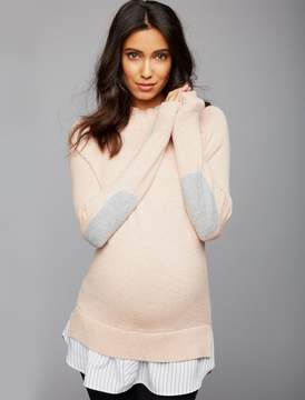 A Pea in the Pod Mock Layer Maternity Sweater