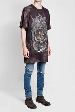 Balmain Printed Cotton T-Shirt with Distressed Detail