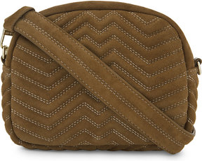 Maje Sami quilted suede cross-body bag