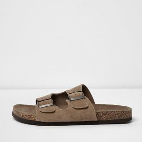 River Island Mens Light brown double buckle strap suede sandals