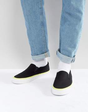 Asos Slip On Sneakers In Black With Neon Flash
