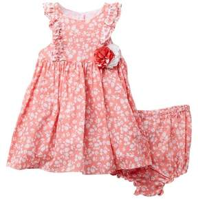 Laura Ashley Coral White Floral Printed Dress (Baby Girls)