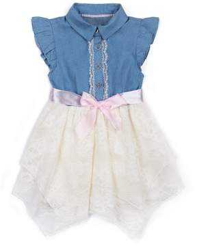 Little Lass Baby Girl Chambray Handkerchief Hem Dress