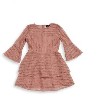 Bardot Girl's Tiered Lace Bell-Sleeve Dress