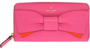 Kate Spade Women's Eden Lane Lacey Bow Leather Zip Around Wallet - Tulip Pink/Bright Papaya - TULIP PINK/BRIGHT PAPAYA - STYLE