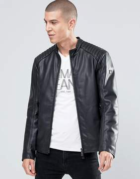 Armani Jeans Biker Jacket In Faux Leather