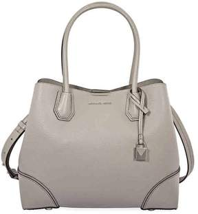 Michael Kors Mercer Medium Leather Satchel - Pearl Grey