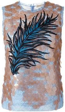 Emilio Pucci sequined feather embroidery top