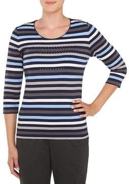 Allison Daley Embellished Stripe Print 3/4 Sleeve Knit Top