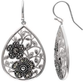 Brilliance+ Brilliance Silver Plated Marcasite Flower Teardrop Earrings