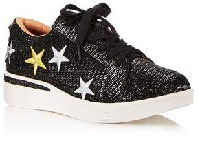Gentle Souls Women's Haddie Star-Embroidered Leather Lace Up Sneakers