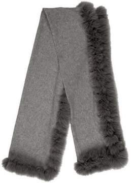 Neiman Marcus Fur-Trimmed Cashmere Shawl