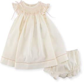 Luli & Me Smocked Ribbon Dress w/ Ruffle Bloomers, Size Newborn-9M