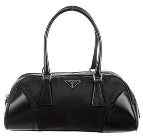 Prada Patent Leather-Trimmed Tessuto Shoulder Bag
