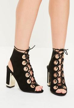 Missguided Black Eyelet Lace Up Black Heel Sandals