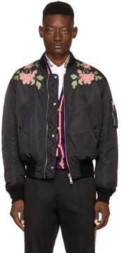 Gucci Black Nylon Modern Future Bomber Jacket