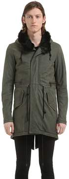 Giorgio Brato Long Hooded Leather Parka W/ Fur Lining