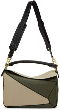Loewe Green and Beige Puzzle Bag