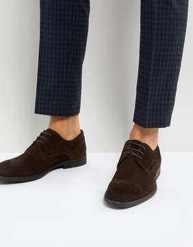 Asos Derby Shoes In Brown Suede With Distressed Sole