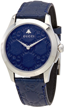 Gucci G-Timeless Blue Dial Men's Blue Leather Watch