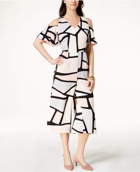 Alfani Printed Cold-Shoulder Jumpsuit, Created for Macy's