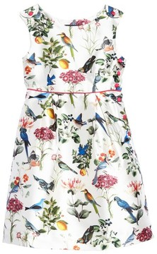 Oscar de la Renta Girl's Botanical Birds Mikado Party Dress