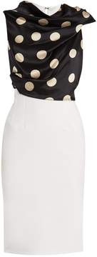 Emilio De La Morena Michelle polka-dot draped contrast dress
