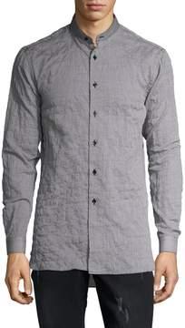 Naked & Famous Denim Men's Cotton Mandarin Collar Sportshirt