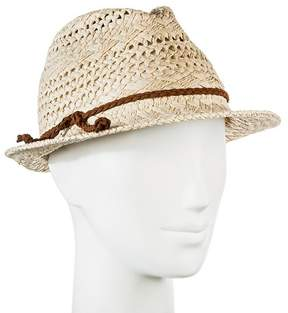 Merona Women's Straw Hat Fedora Natural Tan Pattern Weave with Brown Braid