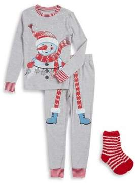 Petit Lem Baby Boy's Three-Piece Snowman Pajama Set
