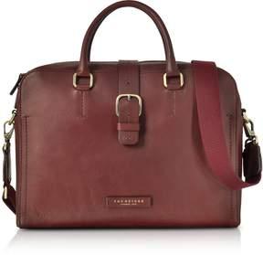 The Bridge Burgundy Leather Double Handle Briefcase w/Detachable Shoulder Strap