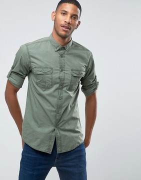 Benetton Military Shirt With Button Down Collar In Regular Fit