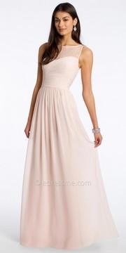 Camille La Vie Chiffon Evening Dress With Lace Neckline